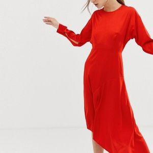 Asymmetric Satin Red dress